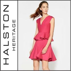 NWT ( Halston Heritage ) Cap Sleeve Peplum Dress